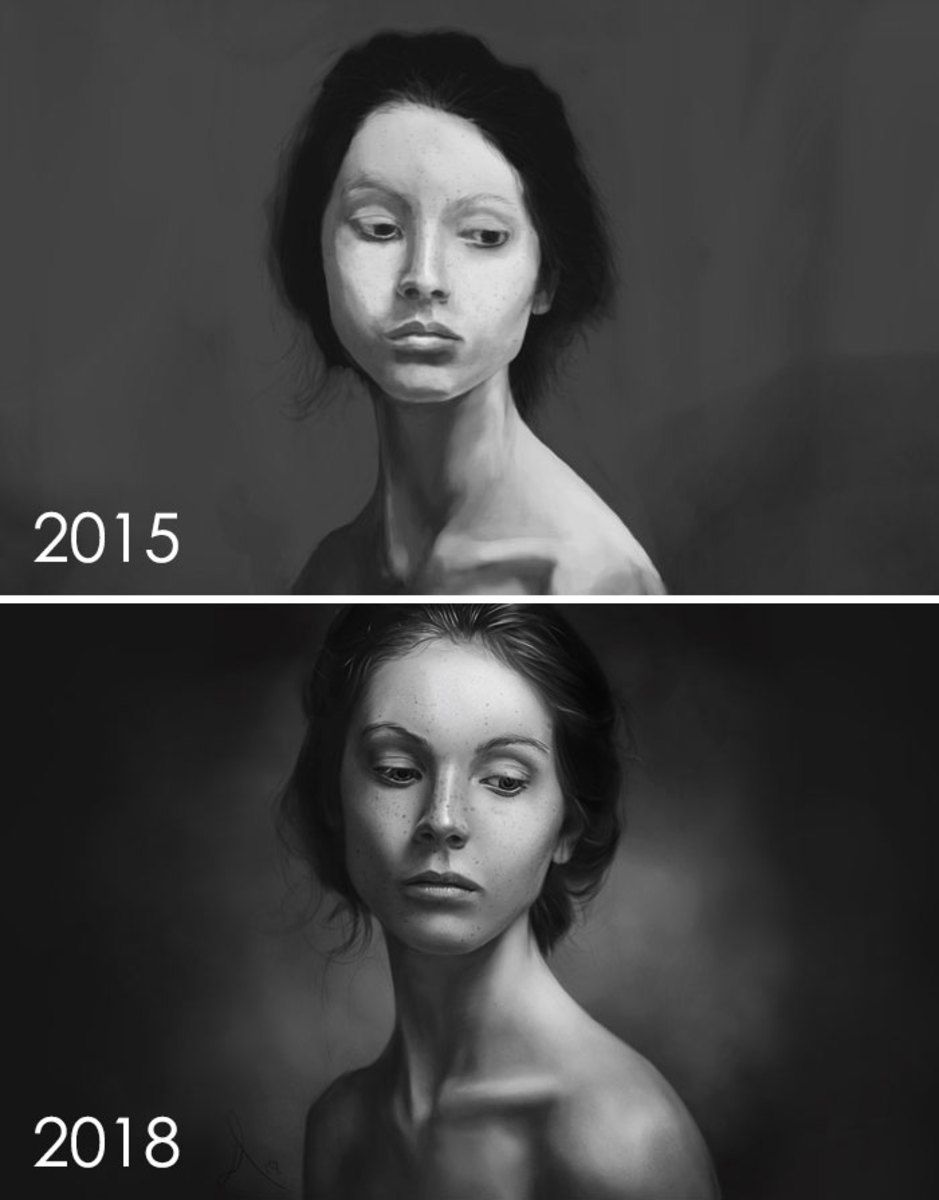 Artists Challenge Themselves To Redraw Their Old Drawings And The Results Are Fantastic - Resim Yeteneğini Geliştirmenin Yolları