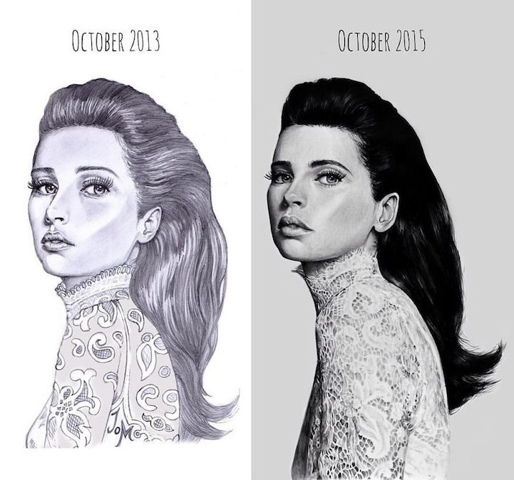 Artists Share  Before and After  Evolution of Their Drawing Skills with Years of Practice - Resim Yeteneğini Geliştirmenin Yolları