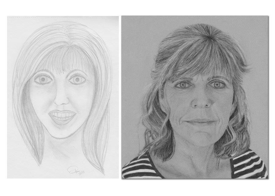 Student Before and After Self Portraits Cindy Widers DrawPj com - Resim Yeteneğini Geliştirmenin Yolları